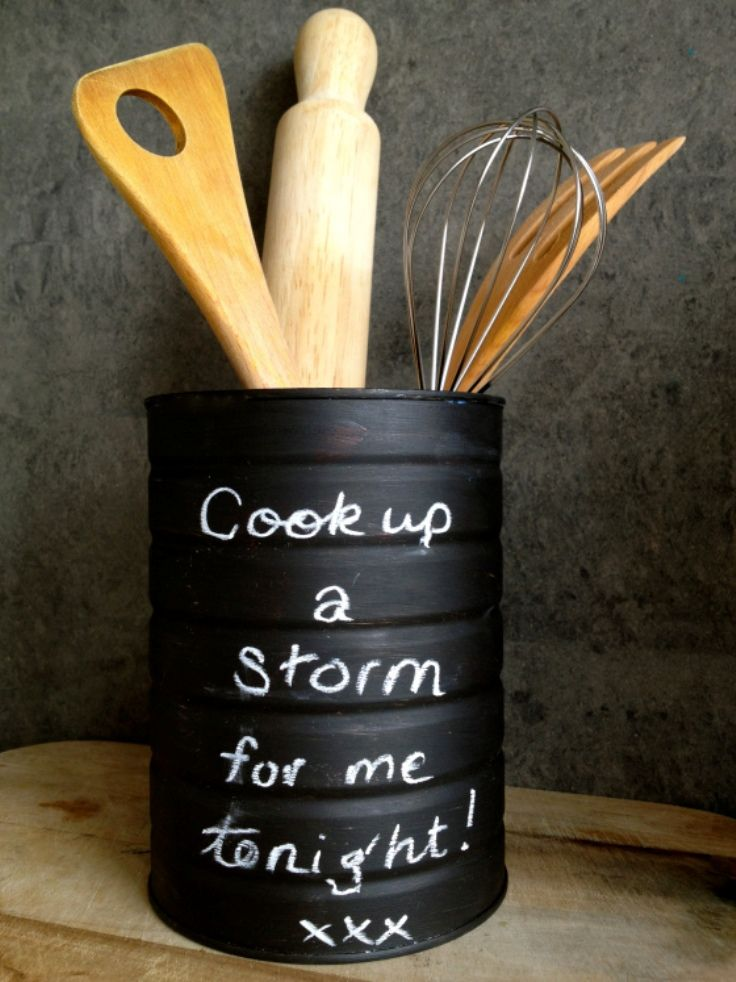 Easy DIY Projects with Chalkboard Paint - Best DIY Kitchen Utensil Holders