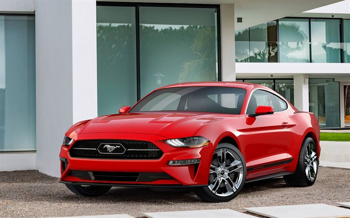 Download imagens Pacote De Pônei, 2018 carros, 4k, Ford Mustang, supercarros, Mustang vermelho, Ford