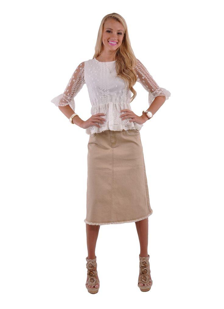 Style J Damen Rock Khaki Queen Denim: Amazon.de: Bekleidung