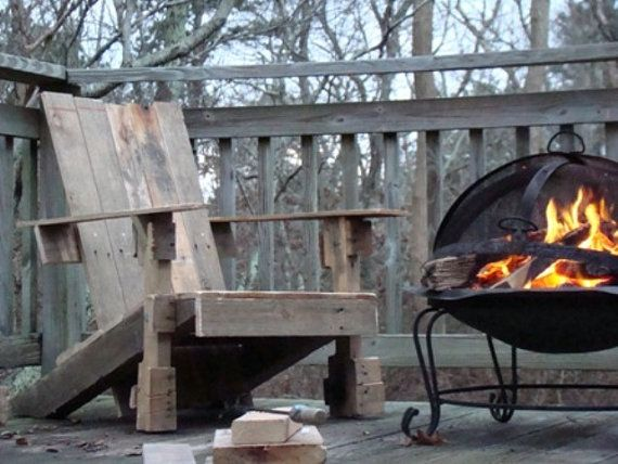 Rustic Patio Or Fire Pit Adirondack Chair By