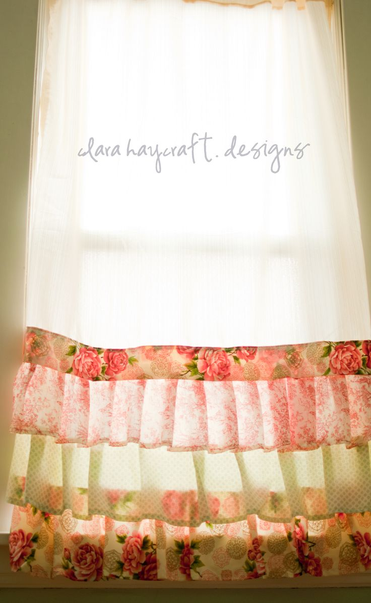 <3 these: Kitchens Window, Girly Curtains, Shabby Chic, Curtains Ideas, Little Girls Rooms, Little Girl Rooms, Baby Girls Rooms, Sewing Machine, Ruffles Curtains