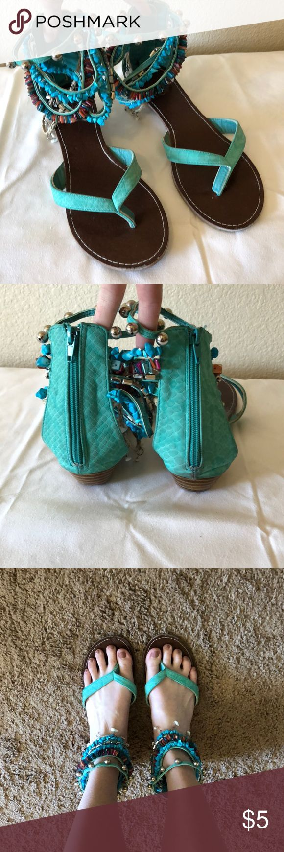 Teal ankle wrap sandals Teal sandals, zip close in back. Size not indicated on shoes, but are size 8. Gently worn. 385 Fifth Shoes Sandals