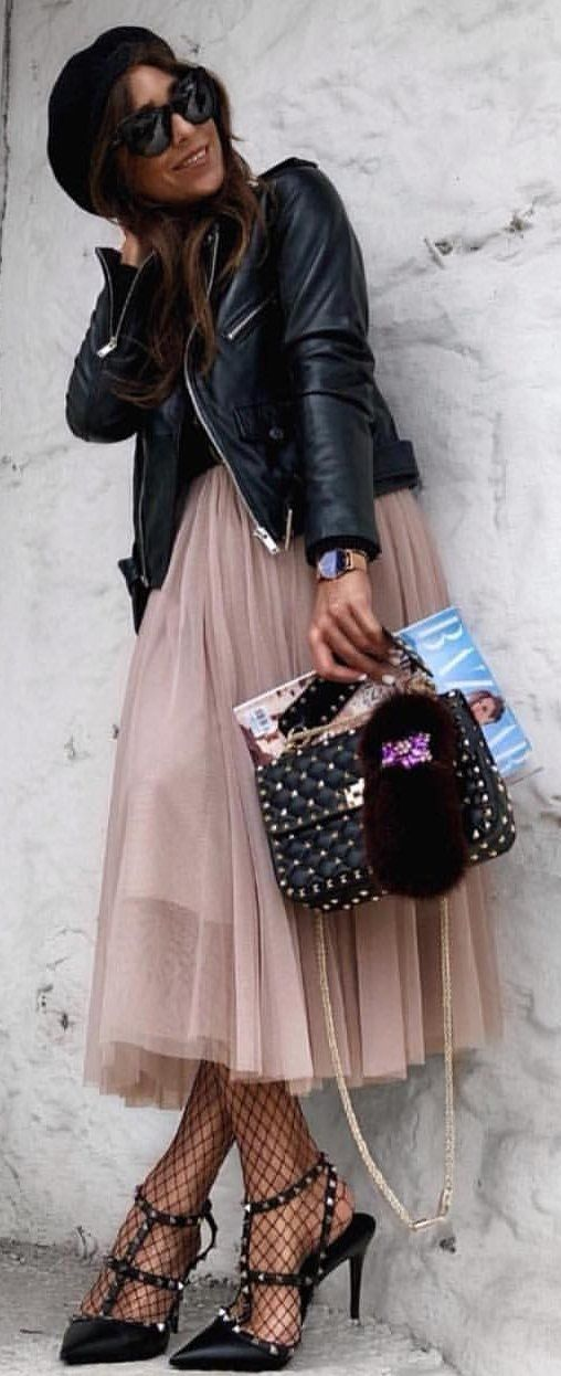 #spring #outfits woman wearing black leather zip-up jacket and brown skirt. Pic by @_luxury_fashion_style