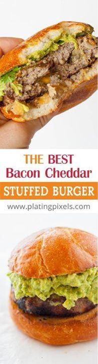The Best Bacon Chedd The Best Bacon Cheddar Stuffed Burger by...  The Best Bacon Chedd The Best Bacon Cheddar Stuffed Burger by Plating Pixels. How to make a perfect juicy burger. Stuffed with flavor filled center of cheddar cheese onion jalapeño and bacon. - www.platingpixels Recipe : http://ift.tt/1hGiZgA And @ItsNutella  http://ift.tt/2v8iUYW