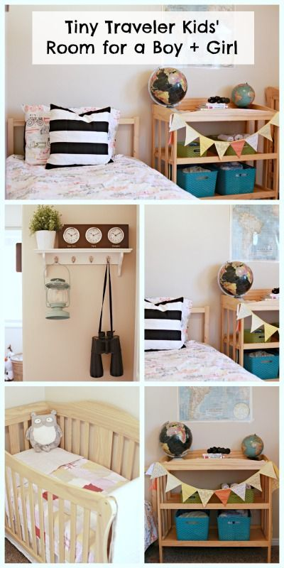 Travel theme bedroom for a boy and girl.