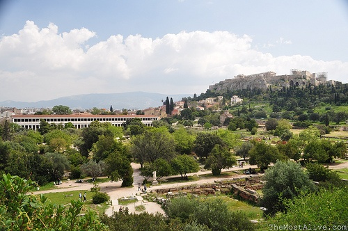 Site of the the Ancient Agora with the Acropolis in the background.See @ http://themostalive.com/running-riot-in-mainland-greece/
