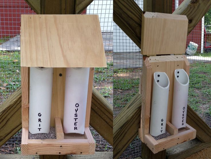 I wanted to show you my grit/oyster shell feeder I made today. I saw one kind of like it somewhere so I cobbled together one of my own. Having chickens is so much fun even when I don't spend time with them. The lid flips up to fill the tubes and is slanted to discourage chicken roosting. The wood is unfinished and all edges are sanded for the chicken's safety.