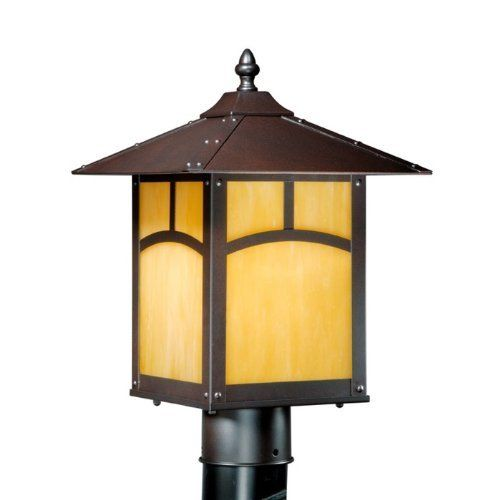 """Taliesin 9"""" Outdoor Post Lantern in Espresso Bronze by Vaxcel. Save 32 Off!. $99.90. WATTAGE: 1 x 150 Watt Medium Base Bulb. PRODUCT: 1 Light Mission Outdoor Post Lighting Fixture. COLLECTION: Taliesin. FINISH: Espresso Bronze; SHADE: Honey Opal Glass. DIMENSIONS: 9.25 in. W x 14.25 in. H, Post Not Included. TL-OPU090EB Features: -9'' Outdoor post lantern.-Honey opal glass. Color/Finish: -Espresso bronze finish. Specifications: -Accommodates (1) 150W, Type A bulb (not included). Dimens..."""