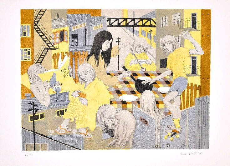 At Home (6-colour lithograph) 1978 lithograph 40 x 58 cm by © Susan Dorothea White. Featured in the collections of the National Gallery of Australia and Westmead Hospital, Sydney.
