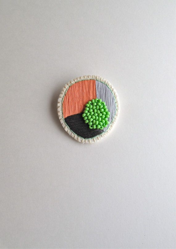 Circle geometric brooch hand embroidered in by AnAstridEndeavor