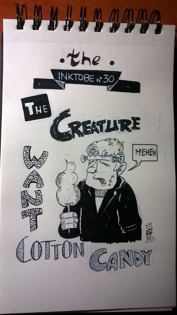 Claudio Cosentino - Frankenstein cotton candy - illustration - #inktober #inktober2015 #inktobersonsy #massoneriacreativa - www.massoneriacreativa.com