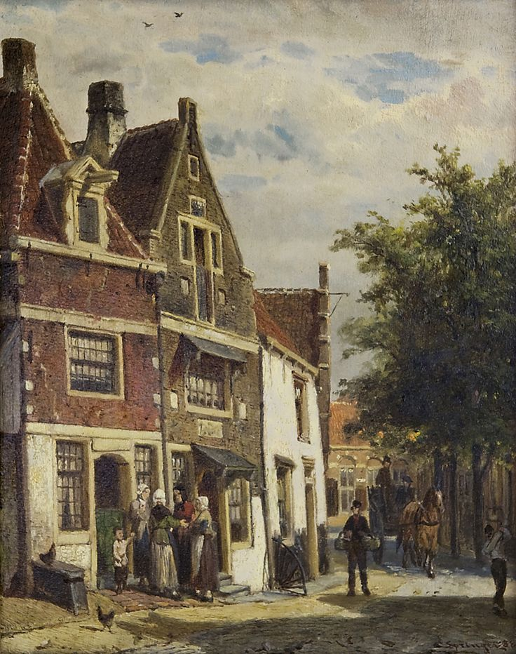 Cornelis Springer (1817-1891) The Leliestraat in Hoorn, oil on panel, 25 x 19.8 cm,  signed lower right and dated '88. Collection Simonis & Buunk, The Netherlands