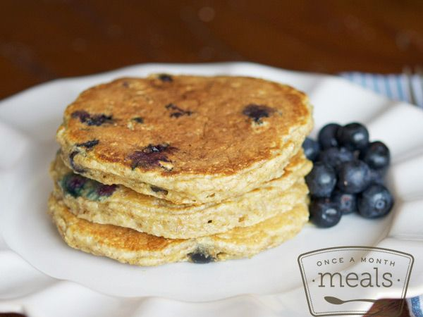Berry Delicious Blueberry Oatmeal Pancakes | OAMC from Once A Month Meals