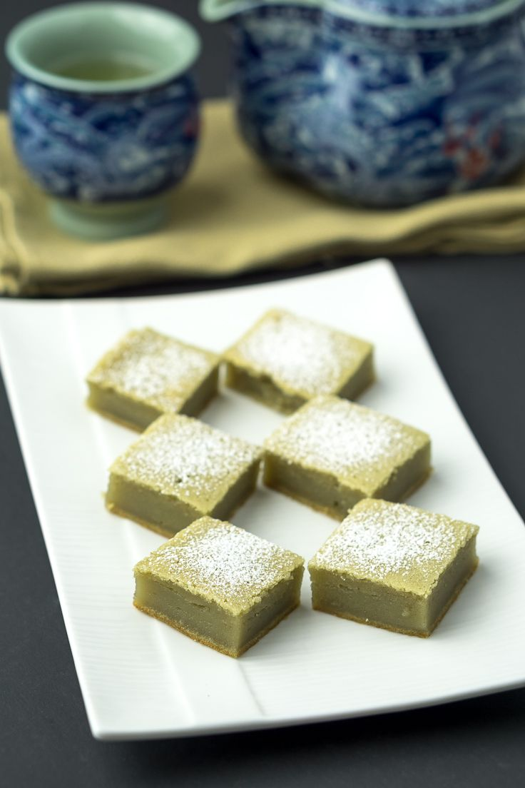 Green Tea Mochi Cake // 1 C Mochiko flour, 3/4 C white sugar, 1 egg, 3/4 C coconut milk, 1/2 t vanilla extract, 1-1/2 t  Matcha, 2 T butter (melted), icing sugar - for dusting
