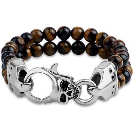 Tiger's Eye Double-Row Beads Skull Clasp 316L Stainless Steel Bracelet, 9 inch, Men's