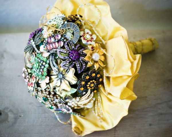 Wedding bouquet made from vintage jewelry