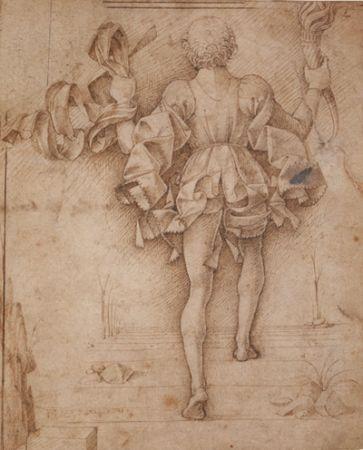 Francesco del Cossa - Figura di paggio vista di spalle - Penna e inchiostro bruno - Londra, The British Museum, Department of Prints and Drawings