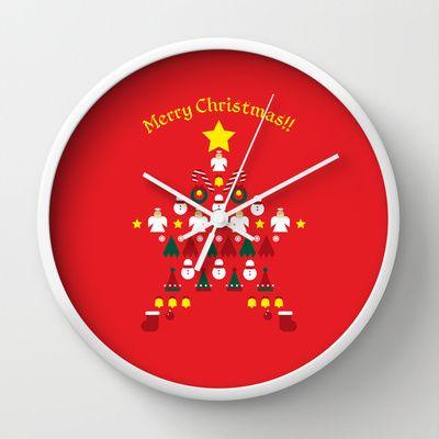 FLAT CHRISTMAS series -CHRISTMAS STAR_R Wall Clock by SEOL.D - $30.00