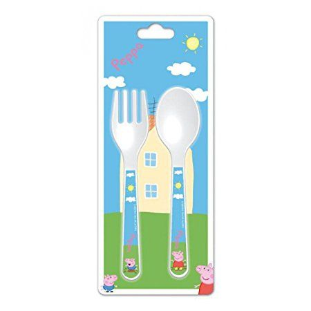 PEPPA PIG MICROWAVE SAFE KIDS 2 PIECE CUTLERY SET FORK AND SPOON SET