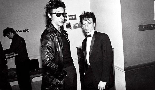 "Richard Hell and James Chance, seen in a photograph from ""No Wave"" by Thurston Moore and Byron Coley"