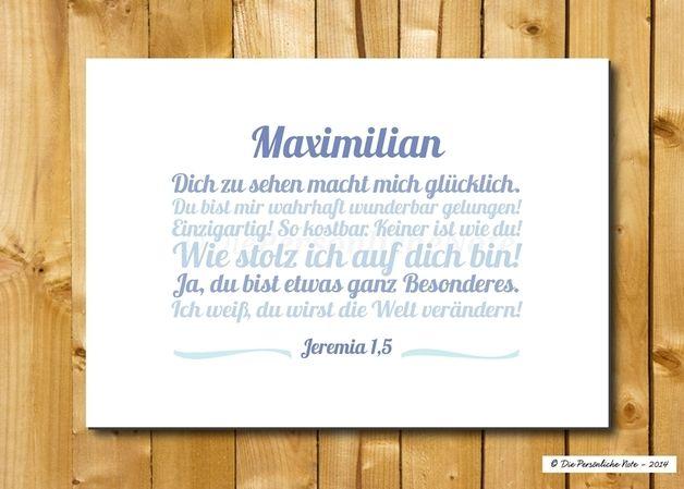 """Süßes Geschenk zur Taufe: """"Liebesbotschaft"""", personalisiert. - Druck/Wandbild/Print: """"Liebesbotschaft"""" zur Taufe"""