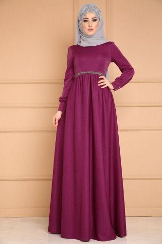 Kemeri Taşlı Simli Elbise MM2040 Şarabi