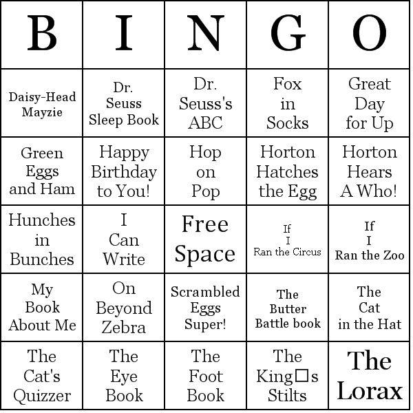 the sleep book activities | Dr. Seuss Books Bingo Cards - Word List