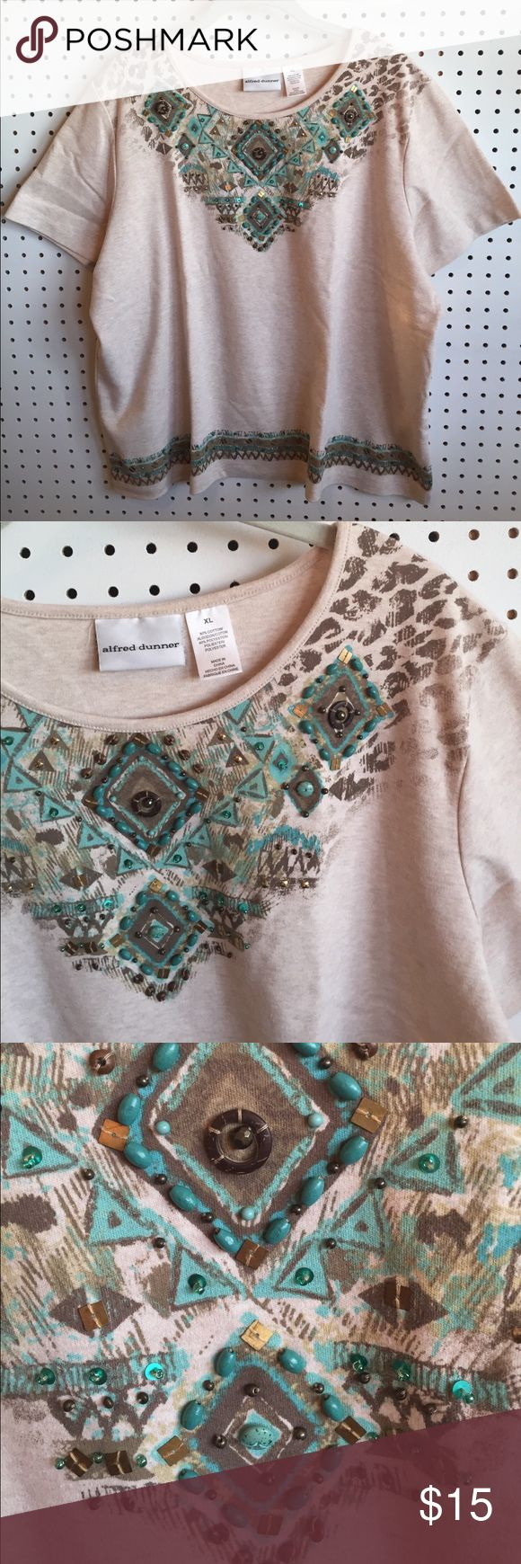 Leopard beaded tee Beautiful cream tee with real and brown leopard print and beaded detail in excellent condition. See measurements as shown please. Super soft!! offerstrades❤️30% off bundles Alfred Dunner Tops Tees - Short Sleeve