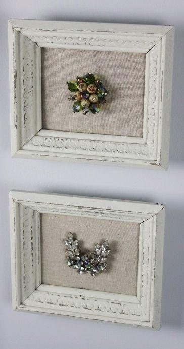 DIY frame grandma\'s brooch on a piece of linen. | { crafts & diy ...