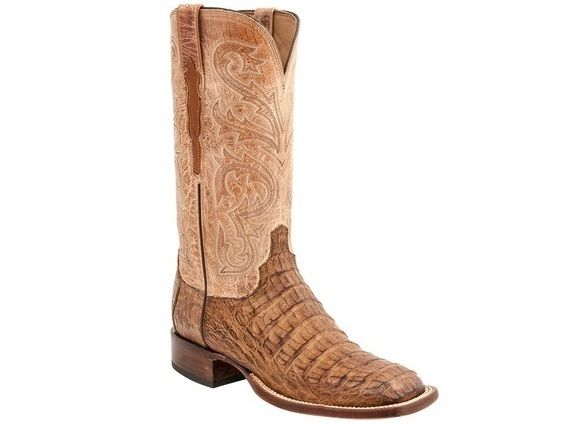 Shop New Lucchese H2022 Cal Mens Caiman Crocodile and Mad Dog Goat Leather Western Cowboy Boots in Tan and Pearl Bone.  Free Shipping | Harrison Avenue