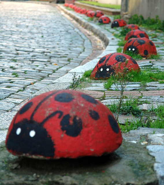 ladybugs (Note: use glow in the dark for the eyes ~ Gail : )