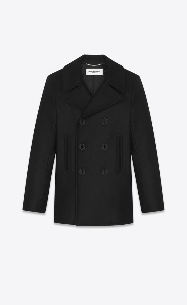 5ad46af919b SAINT LAURENT Coats Man caban marin in black virgin wool a_V4 | Yves ...