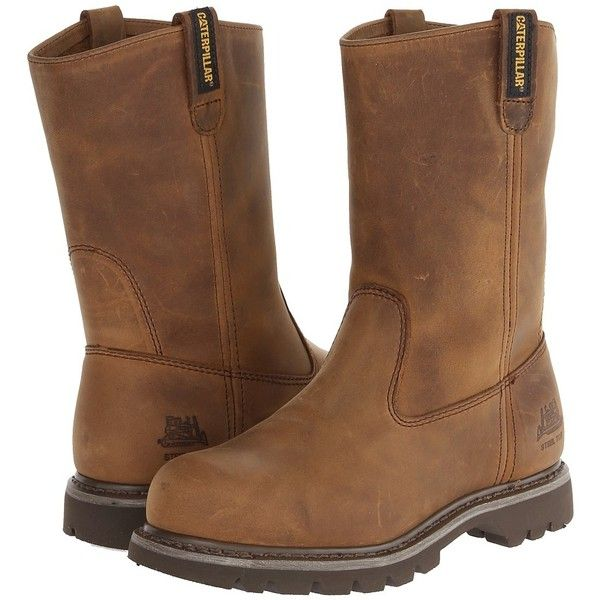 Caterpillar Revolver Steel Toe Women's Work Pull-on Boots ($128) ❤ liked on Polyvore featuring shoes, boots, slip resistant boots, pull on boots, safety toe boots, slip on steel toe shoes and platform slip on shoes