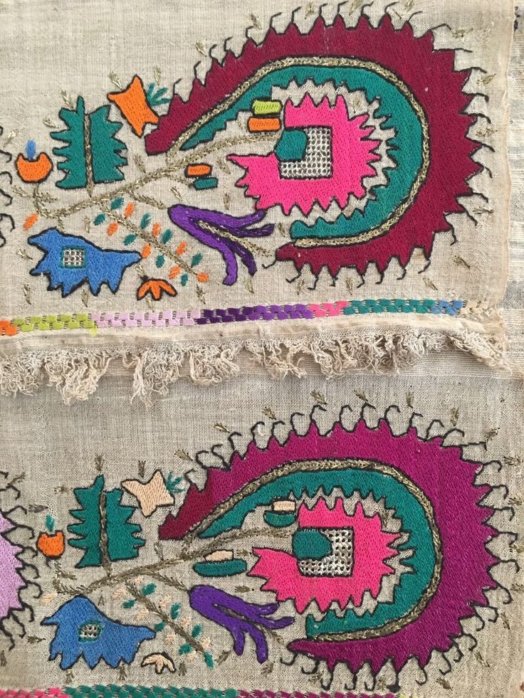 Antique Ottoman-Turkish Silk & Gold Metallic Hand Embroidery On Linen N5 3