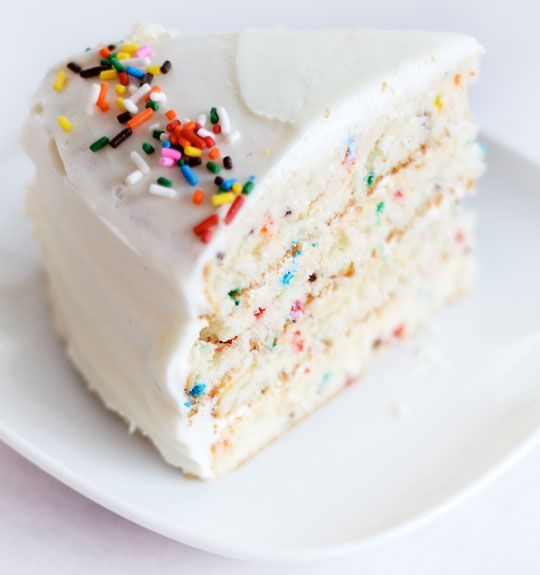 Love this colorful homemade take on boxed funfetti cake.