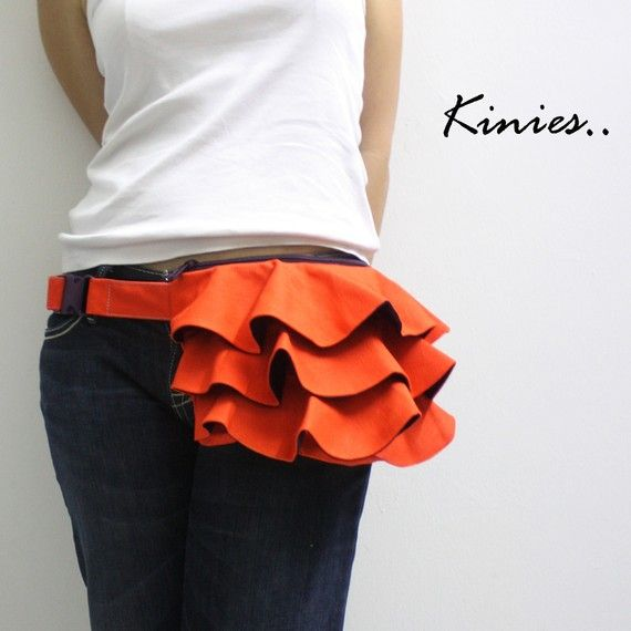 I would actually rock this!  Super cute!KINIES Ruffled Waist Purse in Orange  Fanny Pack / Hip by Kinies, $38.00