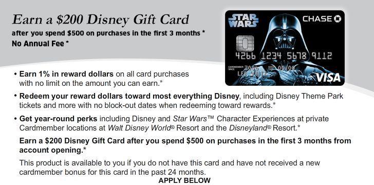 Earn $200 Disney Gift Card. Apply NO ANNUAL FEE Disney Reward Card.