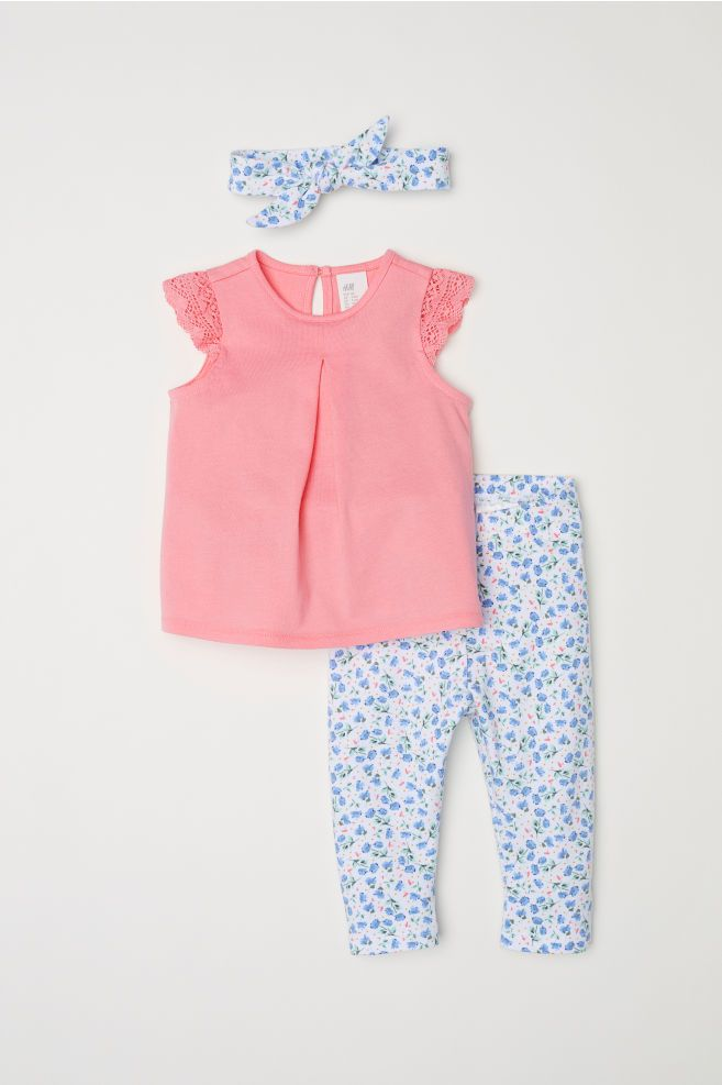 3 Piece Jersey Set Coral Floral Kids H M Gb Fashion Baby Girl Outfits Baby Summer Dresses Cute Little Girls Outfits