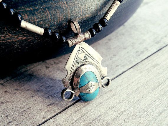 Tuareg jewelry tuareg necklace Turquoise pendant by CarmelaRosa