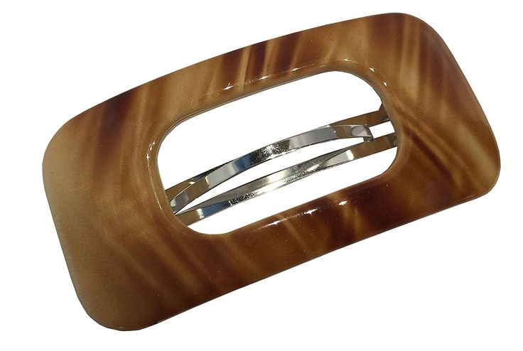 Parcelona French Retro Light Beige N Brown Celluloid Hair Clip Barrette -- See this great product.