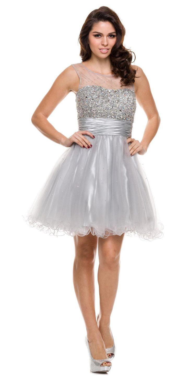 Ruched Empire Waist Illusion Neck Puffy Blush Prom Dress