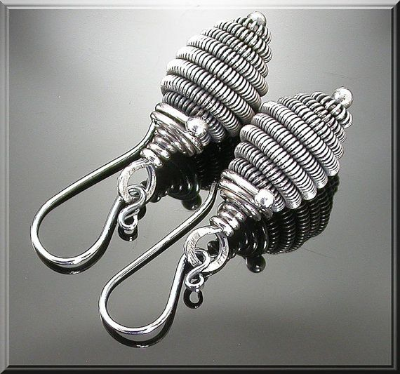 Coiled Fine Silver Dangle Earrings by MustHaves on Etsy, $36.99