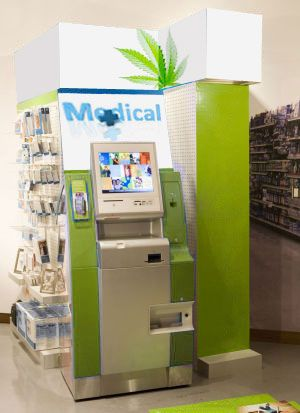 A medical marijuana vending machine. Medical Marijuana dispensaries are becoming as common as fast food restaurants in states like Washington and California...could put one or two of there in my shop