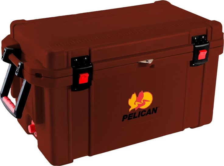 """65 Quart Maroon Cooler: The quality you've come to expect from Pelican now also matches your favorite things in life! Don't worry about your tailgaiting grub getting too warm or your team's water bottles not staying cold enough. Up to 10 days ice retention*, freezer grade gasket, 2"""" polyurethane insulation, Guaranteed for life, Assembled in the USA, Bear resistant certified from the Interagency Grizzly Bear Committee."""