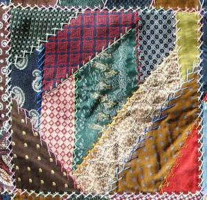 Repurpose men's neckties into crazy quilt squares.