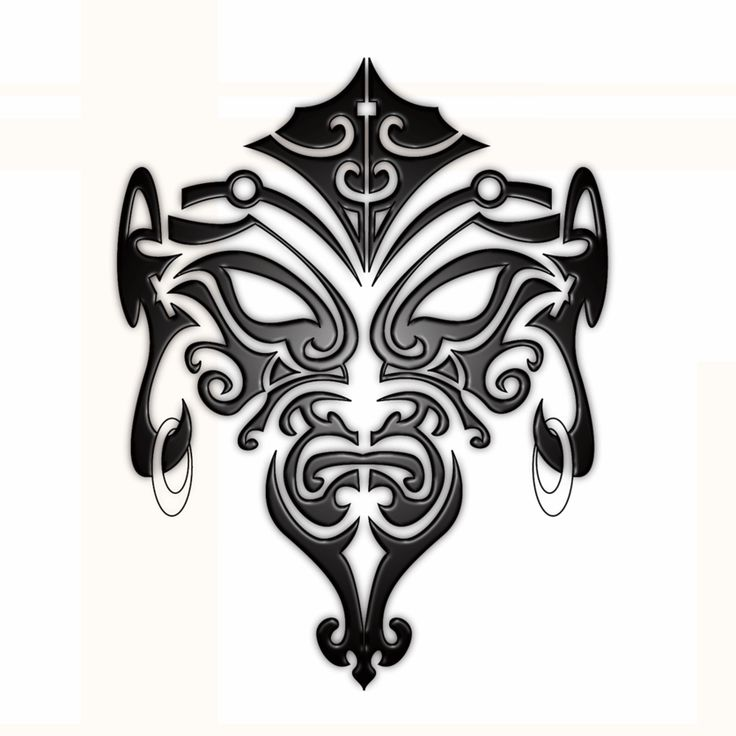 Black Maori Face Tattoo Stencil