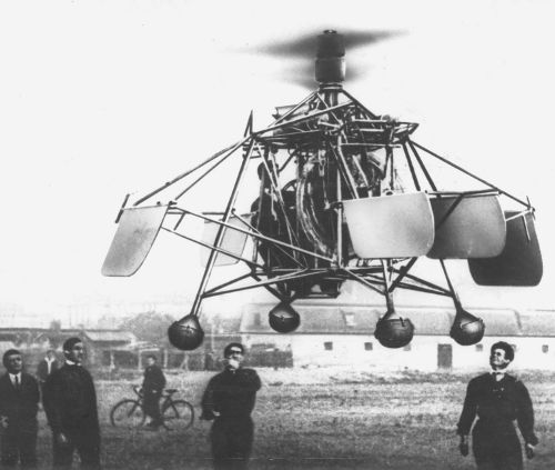 The first flight of Oszkár Asbóth's helicopter, Hungary, 1928