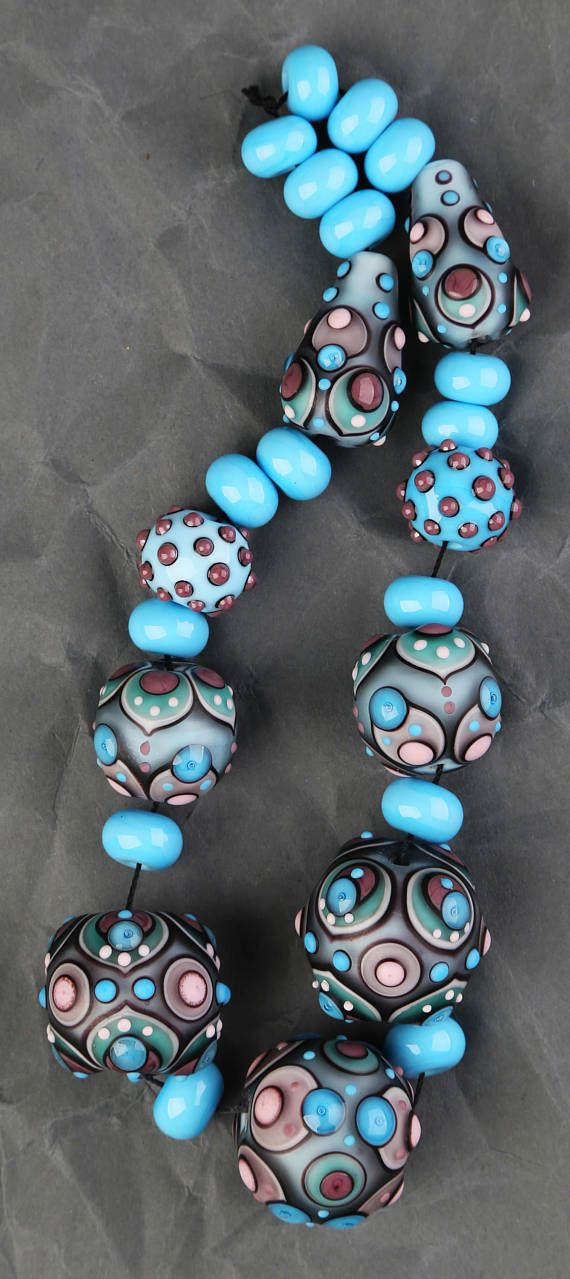 lampwork bead set blue purple pink matte beads for by