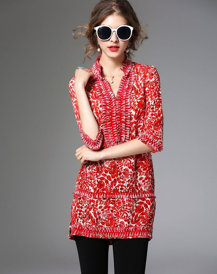 Check the details and price of this Silk Red Bohemian Stand Collar 1/2 Sleeve Blouse (Red, ZERACO) and buy it online. VIPme.com offers high-quality Blouses & Shirts at affordable price.