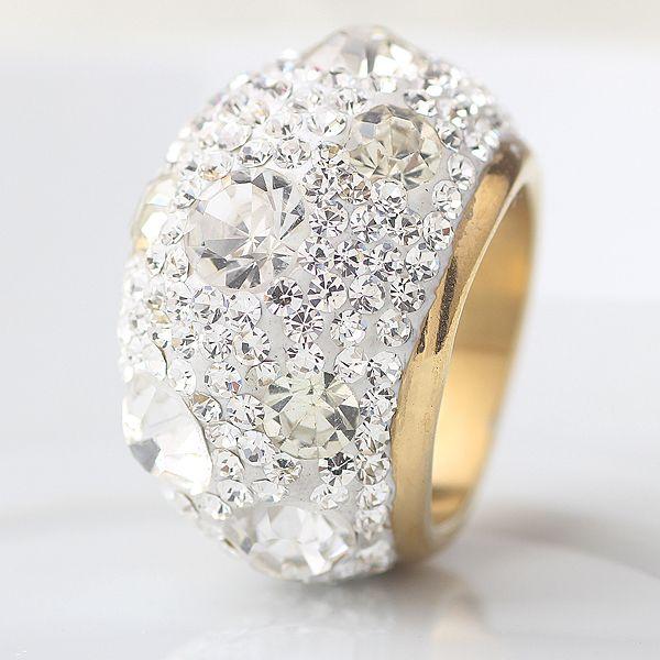 クリアオーストリアのクリスタル結婚指輪ゴールドプレートステンレス鋼リングジュエリー